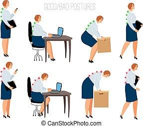 ergonomique, attitudes, femme