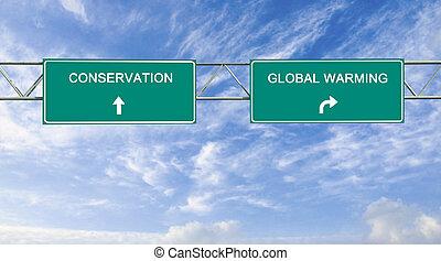 erhaltung, global, straße, wärmen, zeichen