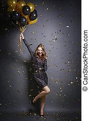 erheitert, woman, tanzt, an, party