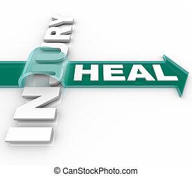 erholung, wort, heilen, nach, pfeil, verletzung, aus