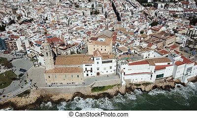 Sitges in Spain, Europe - erial view of the beautiful town ...