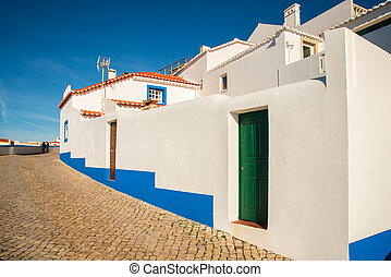 Ericeira village, Portugal. - tipical house in Ericeira ...