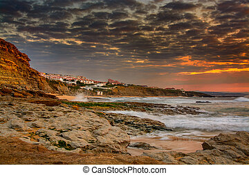 Ericeira village, Portugal. - View of Ericeira village from ...