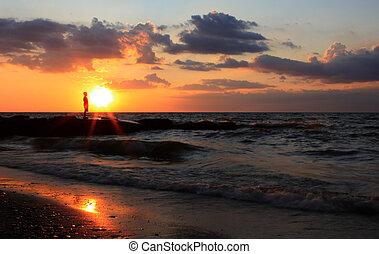 erie, solnedgång, insjö