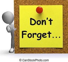 erinnern, macht, mittel, merkzettel, vergessen, wichtig, oder, vergessen