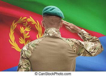 eritrea, 肌が黒, -, 兵士, 旗, 背景