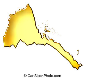 Eritrea 3d golden map isolated in white