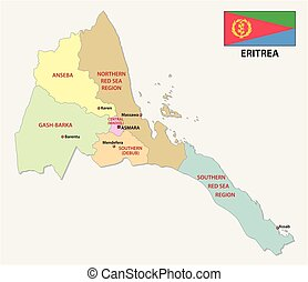 eritrea administrativ and political vector map with flag