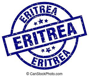 Eritrea blue round grunge stamp