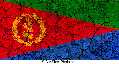 eritrea country flag painted on a cracked grungy wall