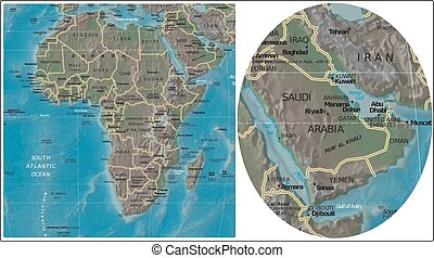 Eritrea Djibouti and Africa map