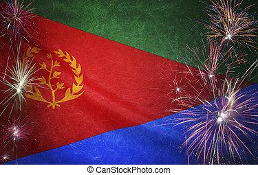 Eritrea Flag Firework Grunge Concept real fabric