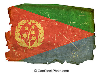 Eritrea Flag old, isolated on white background.