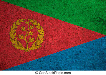 Eritrea flag on an old grunge background