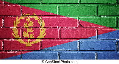 Eritrea flag on brick wall