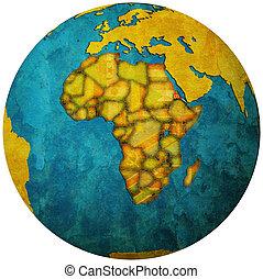 eritrea flag on globe map