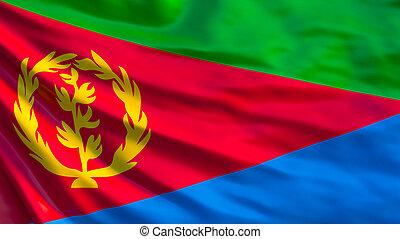 Eritrea flag. Waving flag of Eritrea 3d illustration