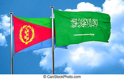 Eritrea flag with Saudi Arabia flag, 3D rendering