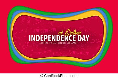 Eritrea. Independence day greeting card. Paper cut style.