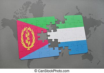 eritrea, kaart, raadsel, vlag, sierra, wereld, nationale, leone
