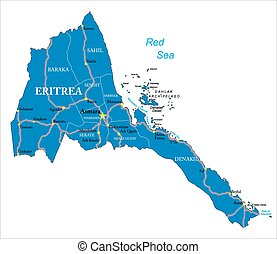 Eritrea map - Highly detailed vector map of Eritrea with...