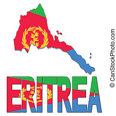 Eritrea map flag and text