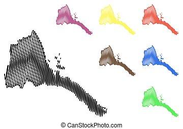 Eritrea map vector illustration, scribble sketch State of...