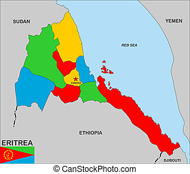 very big size eritrea country political map
