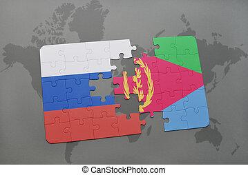 eritrea, mapa, quebra-cabeça, experiência., bandeira, nacional, mundo, rússia