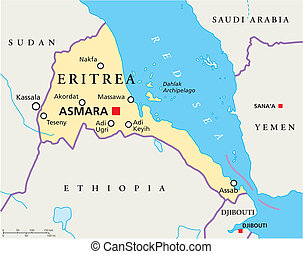 Eritrea Political Map with capital Asmara, national borders, most important cities, rivers and lakes. Illustration with English labeling and scaling.