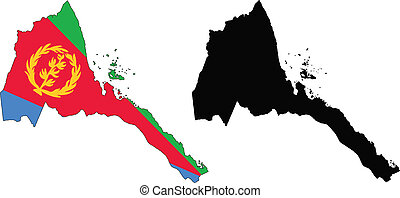 vector map and flag of Eritrea with white background.