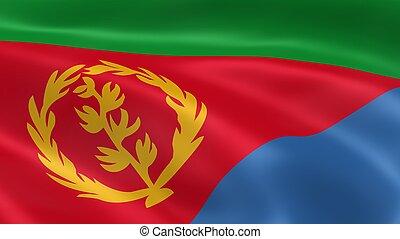 Eritrean flag in the wind