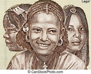 Eritrean Girls on 20 Nakfa 1997 Banknote from Eritrea.