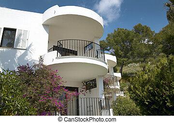 erkélyek, közül, tartózkodási, épület