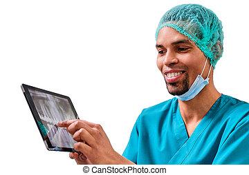 erklären, patient, zahnarzt, afrikanischer mann, röntgenaufnahme