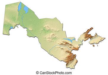 Usbekistan Karte.Landkarte Uzbekistan Erleichterung 3d Rendering Fergana