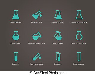 Erlenmeyer and florence flasks icons set.