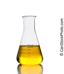 Erlenmeyer flask with yellow solution