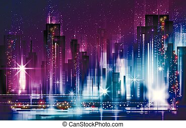 erleuchtet, gebäude, cityscape, nacht, straße