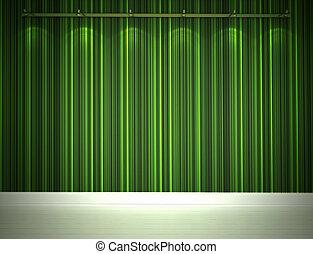 erleuchtet, grüne wand, und, weißes, boden