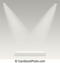 erleuchtet, licht, runder , hintergrund., podium, vector., durchsichtig, buehne