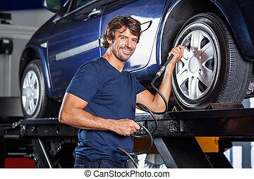 ermüden, auto, luft, garage, füllung, mechaniker, glücklich