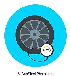 ermüden, druck, gauge., prüfung, ermüden, pressure., messgerät, manometer., auto, sicher, concept., zeichen, rad, auto, mit, instrument, maßnahmen, pressure., ikone, tire.
