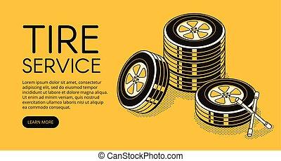 ermüden, service, auto, abbildung, vektor, auto