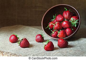 ernährung, voll, natürlich, vegetarier, gesunde, weinlese, lebensmittel, dessert., vitamin, rustic, erdbeer, hintergrund., tonerde, tellergericht, organische , kueche