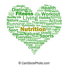 ernæring, hjerte, show, sund mad, næringsstoffer, og,...
