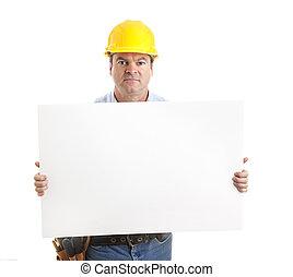 ernst, arbeiter, trägt, zeichen