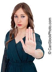 ernst, frau, fragen, aufzuhalten, mit, fokus, auf, der, hand