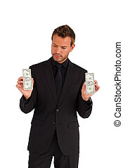 ernst, geld, geschäftsmann