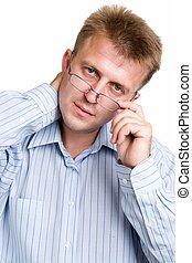 ernst, mann, brille